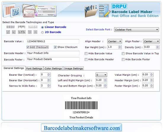 Postal Barcode Label Maker