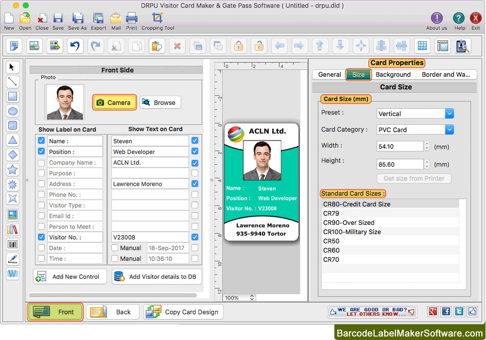 Id Mac Visitors Pass Or Gate Card Design Maker For Cards Visitor
